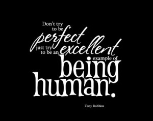 Don't try to be perfect just try to be an excellent example of being ...