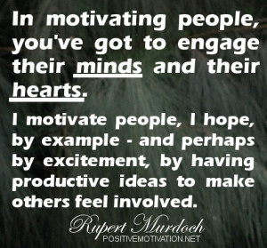motivate people, I hope, by example ~ motivational thought of the ...