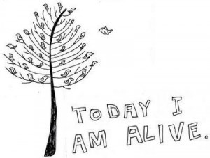 alive, bird, breathe, cute, doodle, quote, tree