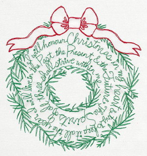 Charles Dickens Christmas Carol Quote Wreath Embroidered Cotton ...