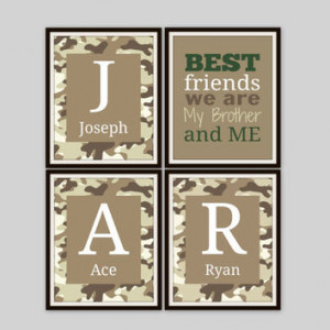 Brother and Sister Wall Art - BEST FRIENDS we are Quote, Camo Print ...