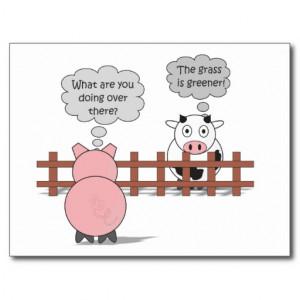 Greener Grass Funny Rudy & Moody Cartoon Cow & Pig Postcard