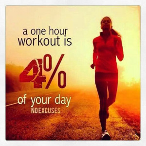 Fitness Motivation Quote – A one hour workout is 4% of your day. No ...