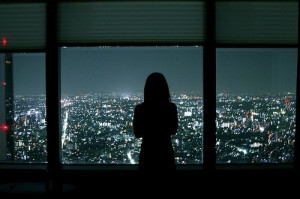 alone, city, city lights, dark, girl, sad