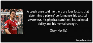are four factors that determine a players' performance: his tactical ...