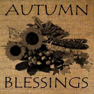 Autumn Blessings Quote Harvest Thanksgiving Fall Corn Flowers Digital ...