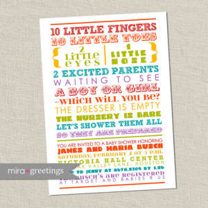 Baby Shower Invitation - colorful words, gender neutral, gender ...