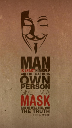 Oscar Wilde Quote Anonymus Mask Android Wallpaper