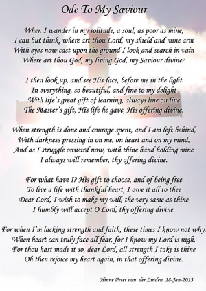 Ode To My Saviour (written by my cousin)