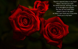 Red roses and love quote wallpaper