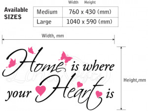 HOME IS WHERE YOUR HEART IS quote vinyl wall art sticker decal