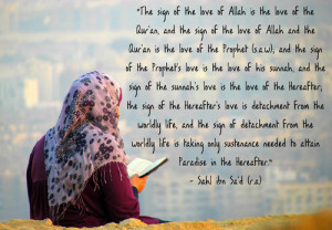love of Allah is the love of the Qur'an, and the sign of the love ...