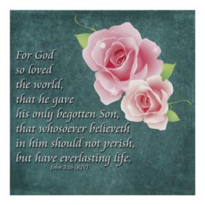 Christian Poster Roses Bible Scripture John 3:16