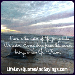 Love is the water of life, jump into this water. Every drop from this ...