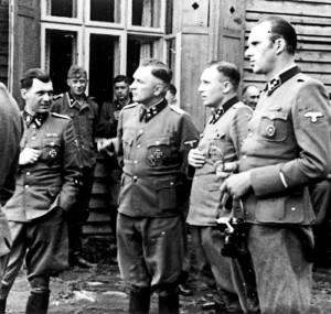 Left to right: Dr. Josef Mengele, Richard Baer, Karl Hoecker, Walter ...