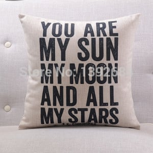 Free shipping English letters pillowcase famous quotes cotton cushion ...