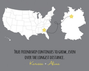 Best Friends Long Distance Map Prin t- friends forever gift, long ...