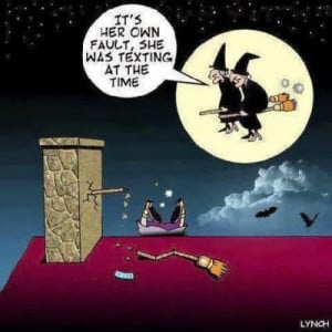 Funny witch accident texting while flying Halloween cartoon joke ...
