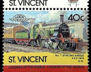Train -No.1 Stiring Single 4-2-2 18 70 UK -St. Vincent -17942 Framed ...