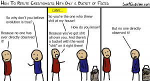 How to refute creationists with only a bucket of feces