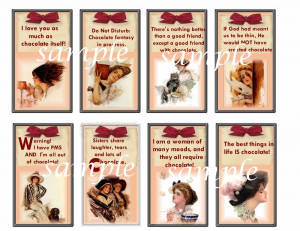 vInTage SEXY LADY TAGS with CHOCOLATE sayings so cute