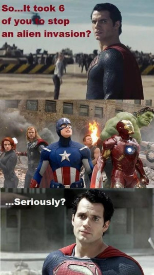 Superman seems making fun of avengers
