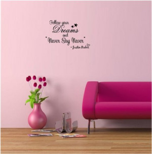 your dreams and never say never. cute music wall art wall sayings ...