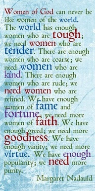 women of God can never be the women of the world.
