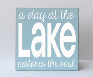 ... Lake - Sign - Typography Word Art Handpainted Wooden Sign - Lake Sign