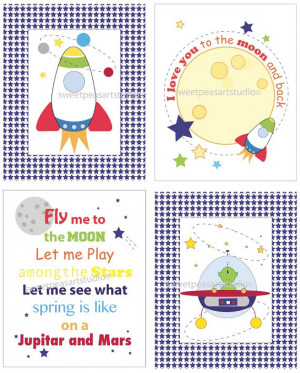 Rocket Ship Outer space Alien Mod Quotes for Kids Wall Bedding Decor