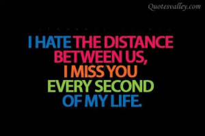 Hate The Distance Between Us, I Miss You Every Second Of My Life