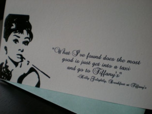 Breakfast at Tiffany's Ouotes - Set of 5 Cards