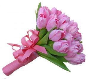 Pink Tulips Bouquet Pink tulip handtied wedding