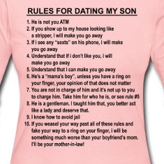 10 rules for dating my son shirt