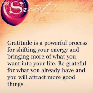 Gratitude is a powerful process of shifting your energy and bringing ...