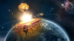 An artist's (very dramatic) impression of what an asteroid impact on ...