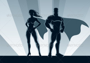 Male and female superheroes, posing in front of a light.No ...