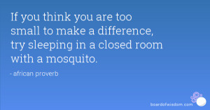 If you think you are too small to make a difference, try sleeping in a ...