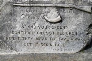 Rock on Lexington Green quotes Minute Man Captain Parker,