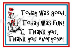 ... Printable Thank You Tags - Inspired by Dr. Seuss Cat In The Hat