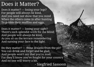 Siegfried Sassoon was an English poet and decorated soldier during WWI ...
