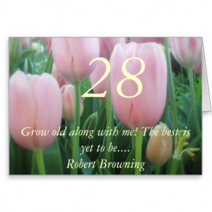 28th Birthday Pink Tulips Quote greeting card