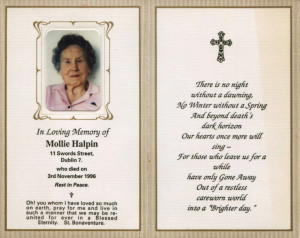 In Memoriam card for Mollie.