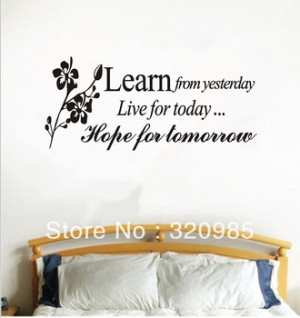 NEW Arrival HOT Sale Vinyl Quotes YesterdayToday Tomorrow English Word ...