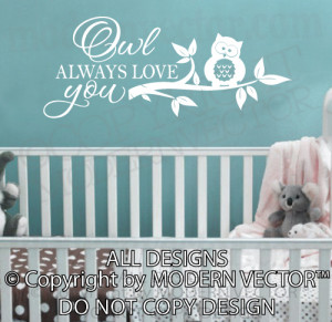 Details about OWL ALWAYS LOVE YOU Vinyl Wall Decal Lettering Nursery ...