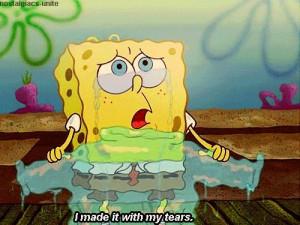 cute, spongebob, tears, text