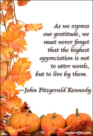 John F Kennedy Thanksgiving Quote. HTML Embed Code