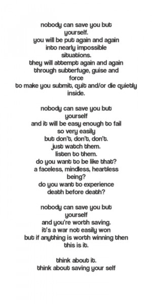 "Nobody can save you but yourselffrom poem ""nobody but you ..."