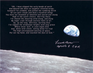 The wonderful High Flight poem signed on an 'Earthrise' photo by Frank ...
