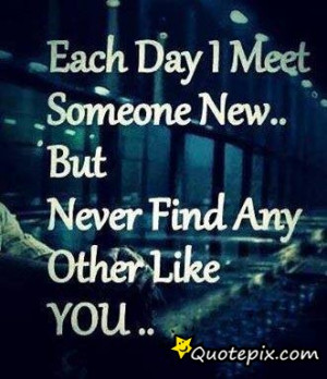 Each Day I Meet Someone New, But Never Find Any Other Like You